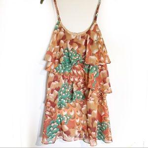 F21 Teal and tan Ruffle Dress